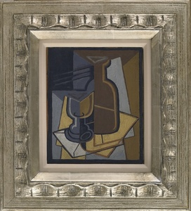 Cubist Still Life with Wine Bottle and Glass