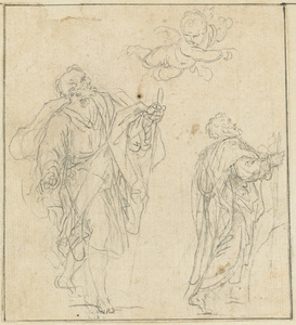 Two Biblical Figures Guided by a Cherub