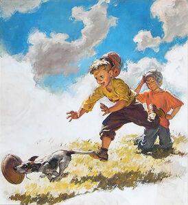 Boys in Football Helmets Running After a Dog