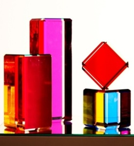 Transparent colored plexiglass sculptures