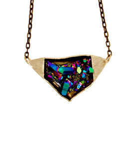 DB/CB by Debra Baxter, Titanium Quartz Necklace, 2018, titanium quartz, bronze
