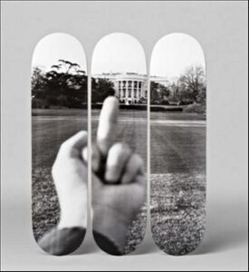 """F#CK! The White House. with Certificate of Authenticity Hand Signed by Ai Weiwei - Set of Three (3)  Lt Ed Skateboard Decks, Numbered from the Limited Edition of only 66 and signed on the deck with COA hand signed by Ai Weiwei"