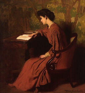 Woman Reading at a Desk