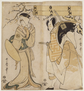 The actors Ichikawa Omezo I in the role of and Adachi Tokuro and Nakayama Tomisaburo I in the role of Matsumura Tatsue-mon