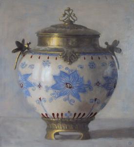 Urn with Blue Flower Motif