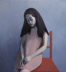 Girl in Pink with a Red Chair