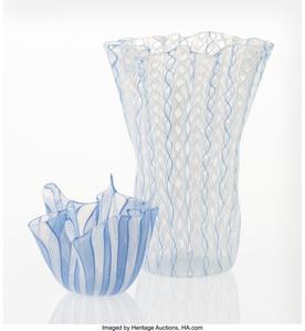 Two Fazzoletto Handkerchief Vase