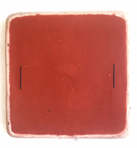 Red Oxide Square with Two Black Lines