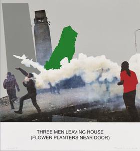 The News: Three Men Leaving House (Flower Planters near Door)