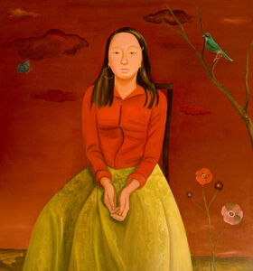 In a Colorful World (Girl with Red Sky and Green Skirt)