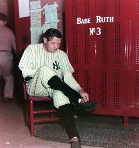 Babe Ruth in Locker Room