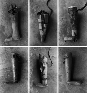 Prosthetics made at home by villagers who had lost limbs before receiving access to the Red Cross. International Committee of the Red Cross Prosthetic Centre. Mazar-i-Sharif. Afghanistan