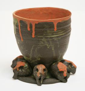 Large Orange Bowl with Skull Base