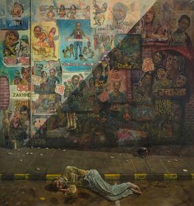 Man 1/2 Sleeping, 1/2 Masturbating, 1/2 Dying, corner Dr V. B. Gandi Marg and Mahatma Gandi Rd,