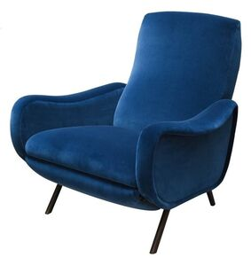 """1950's """"Lady"""" series pair of armchairs in blue velvet upholstery. Metal structure."""