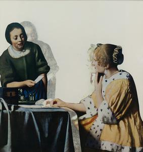 Dame avec sa servante tenant une lettre