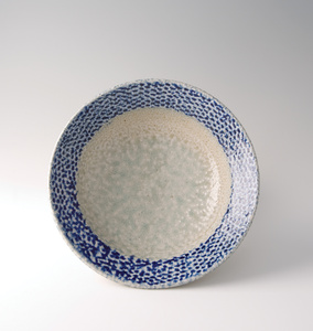 Bowl, rope and slip inlay with cobalt blue salt glaze