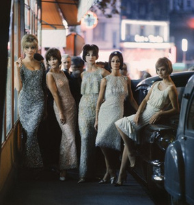 Mod Girls in Sequined Dresses at Night, Paris