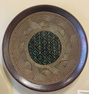 Hand Carved Green,Black Diamond and Tan Swirl Platter