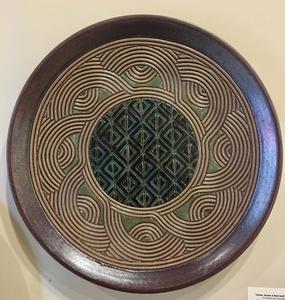 Hand Carved Green,Black Diamond and Tan Swirl Platter