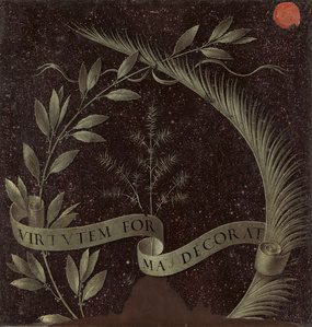 Wreath of Laurel, Palm, and Juniper with a Scroll inscribed Virtutem Forum Decorat [reverse]
