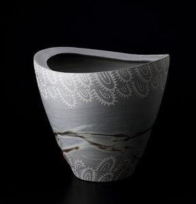 Blue Bizen Flower Vase with White Clay Patterns
