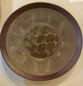 Hand Carved Green, Brown Leaf Quilt Platter