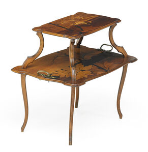 Tiered marquetry side table, France