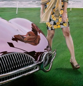 Buick with Lady in Yellow Dress