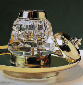 Crystal and Brass Inkwell