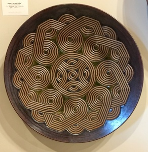 Hand Carved Green and Tan Swirl Platter