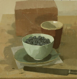 Blueberries in a Bowl with Red Cup Knife and Brick