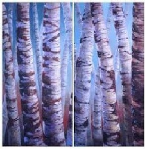 Birches Diptych (dimensions and pricing provided are for both panels)