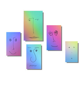 (5) Gradient Paperback Book Jacket's w/ Drawn Faces