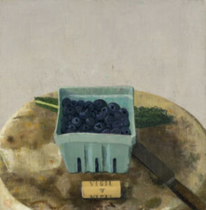 Blueberries with Cork, Knife, and Kale Leaf