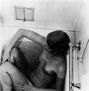 Lee Miller in bathtub by Theodor Miller, Grand Hotel, Stockholm, Sweden, 1930,