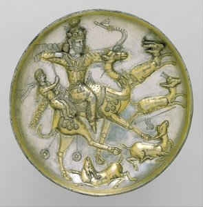 Plate with a hunting scene from the tale of Bahram Gur and Azadeh