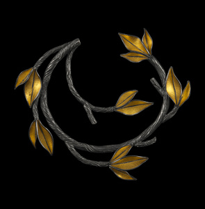 Twig and Leaf Circle Pin
