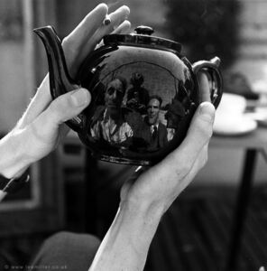 'Portrait of Leslie Hurry in a teapot, including Lee Miller and unknown man, Vale Lodge, Vale of Health, Hampstead, London, England