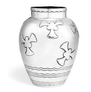 Sterling silver vase with stylized ornamentation.
