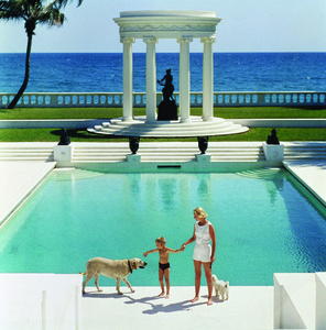 The Good Life, 1955: C.Z. Guest and her son Alexander and dog at the pool at their home Villa Artemis in Palm Beach, Florida