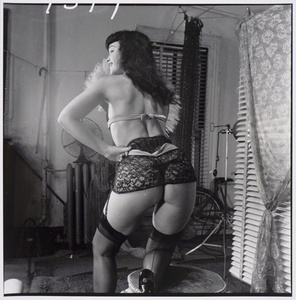 Bettie Page (with lace garter belt, from behind)