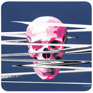 A Pink Skull with Cracks