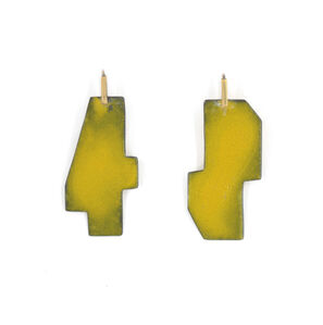 Yellow Boundary Lines Steel Earrings