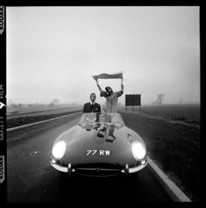 E-Type Jaguar on Newly, Opened M1 Motorway