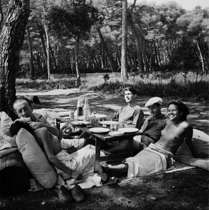 Picnic: Paul and Nusch Eluard, Roland Penrose, Man Ray, and Ady in Mougins, France