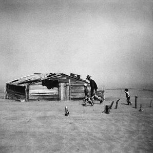 Father and Sons Walking in the Face of Dust Storm, Cimarron County, Oklahoma, 1936