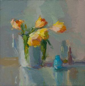 Orange Tulips and Bottles