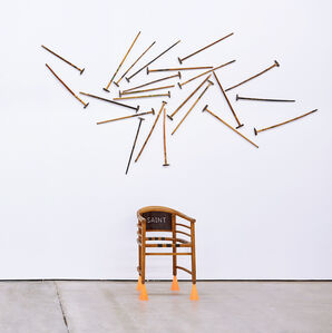 Untitled (Eastern Orthodox chair with hammers and walking sticks)