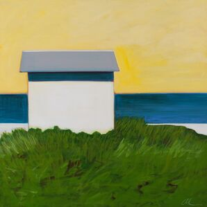 White Cottage With Yellow Sky